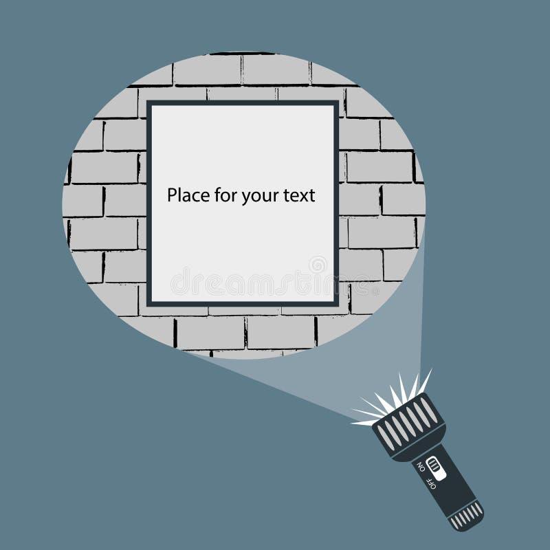 手手电和投射圆的光束平的传染媒介设计在框架或标志垂悬在砖墙上的广告的 库存例证