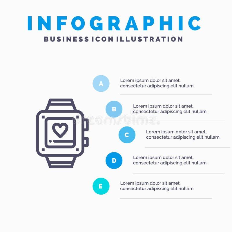 手手表,爱,心脏,婚姻的线象有5步介绍infographics背景 库存例证