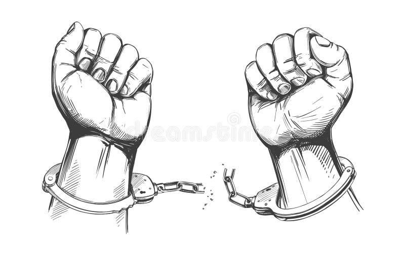 手打破链手铐、自由的标志和饶恕象手拉的传染媒介例证剪影 皇族释放例证