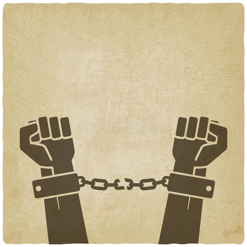 手打破的链子 老自由概念 库存例证