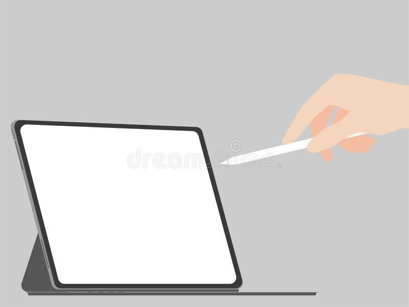 手抓住和写铅笔入新的强有力的片剂新的设计前进技术 向量例证