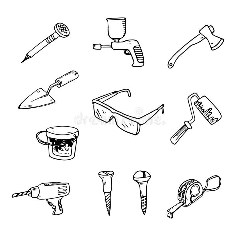 手拉一套为修理和建筑乱画的工具 S 库存例证