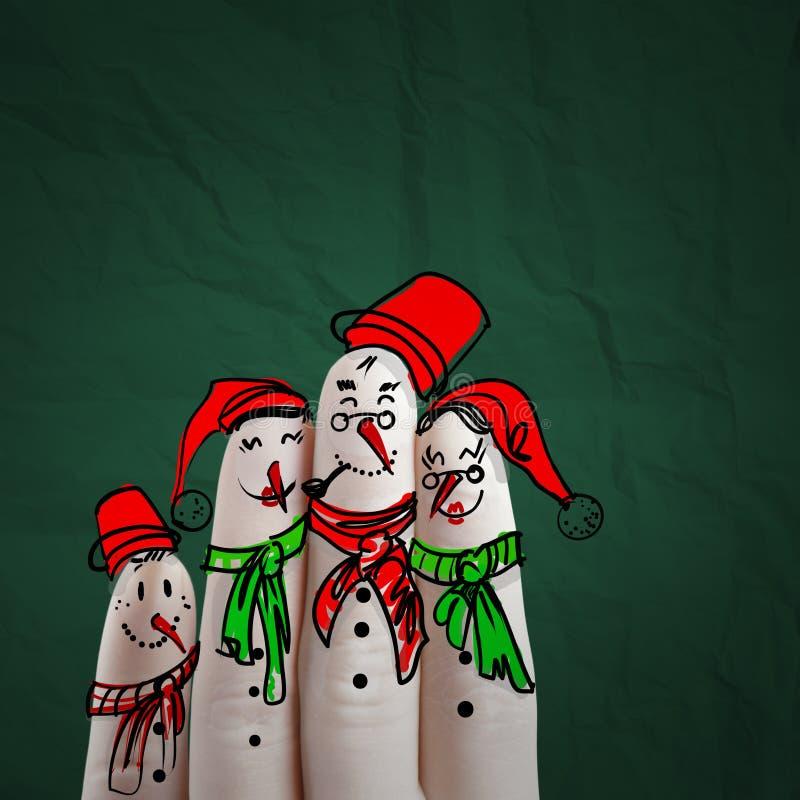 手拉可爱的雪人的家庭和手指 库存例证
