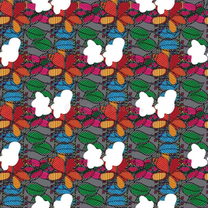 手拉叶子和的花纹花样 免版税库存图片