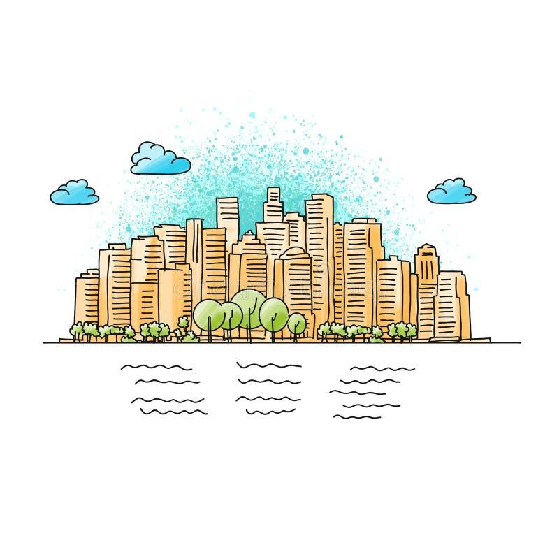 手拉和色的普通城市地平线 皇族释放例证