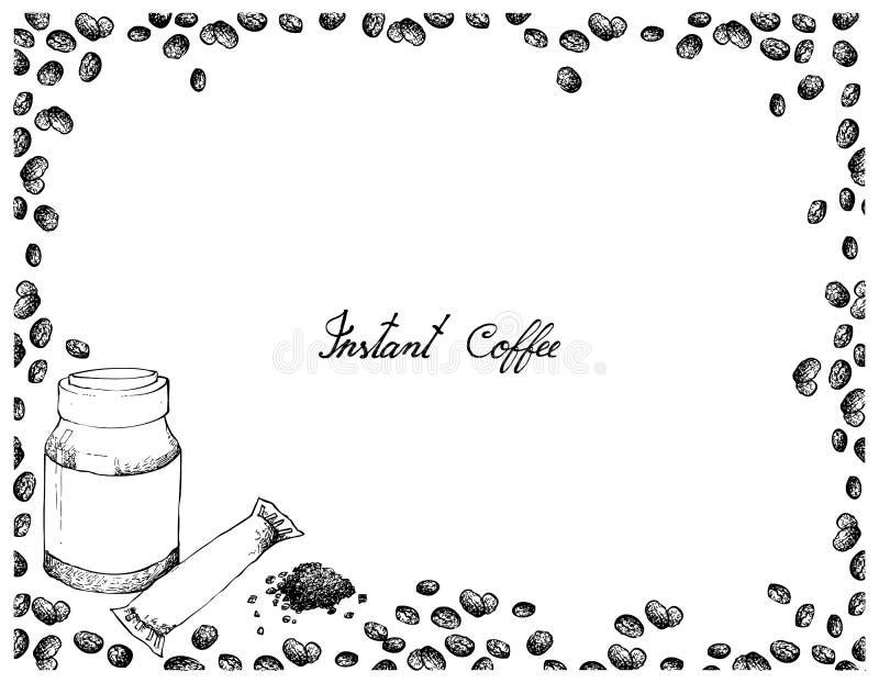 手拉在白色背景的速溶咖啡 皇族释放例证