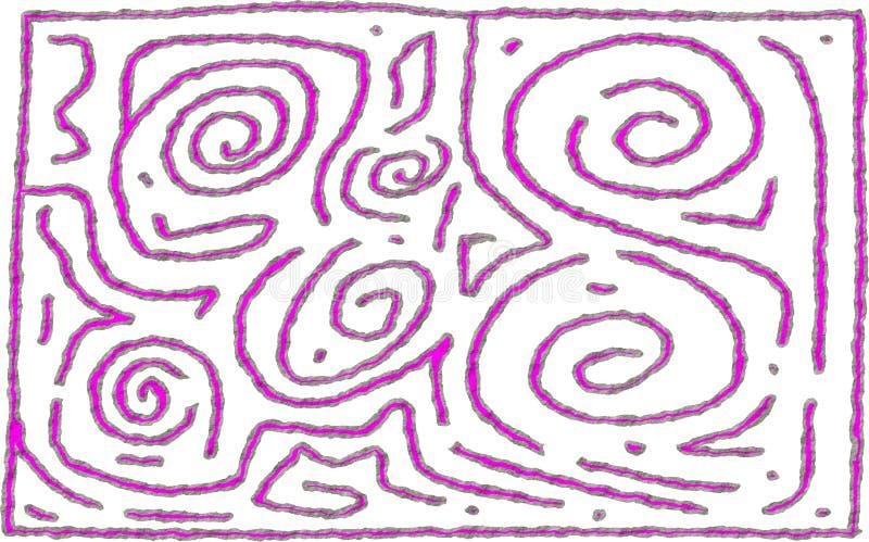 手拉在紫红色和灰色颜色的迷宫样式第6概略的设计 库存例证