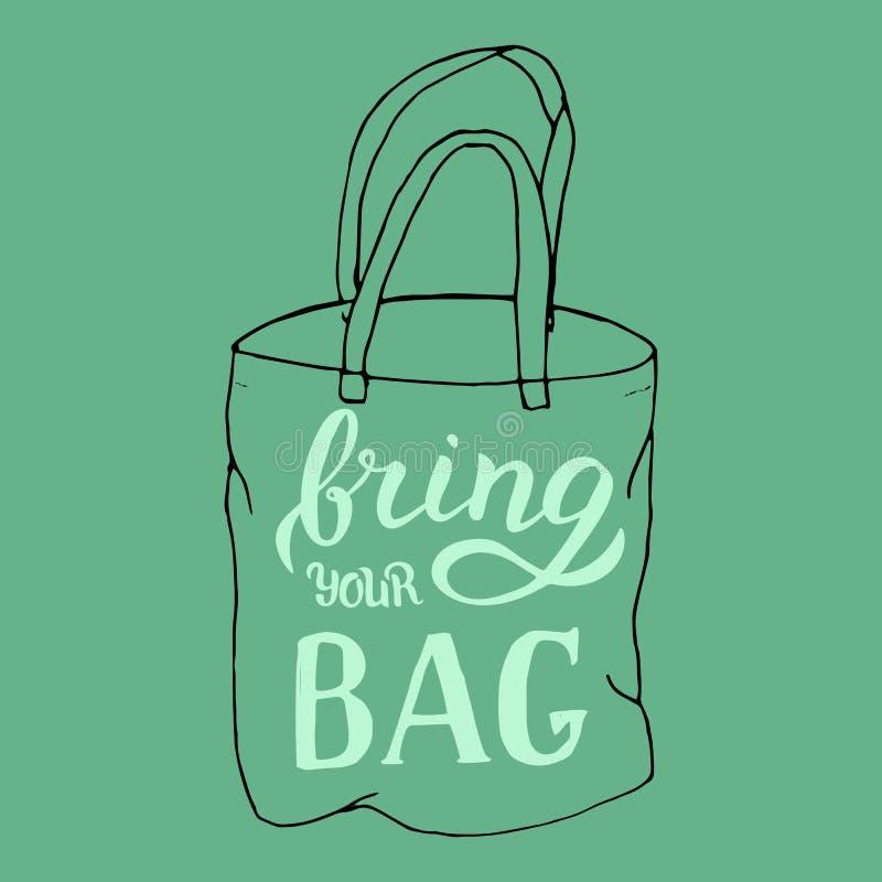 手拉带来您自己的袋子行情 购物中心的时髦海报 r 皇族释放例证