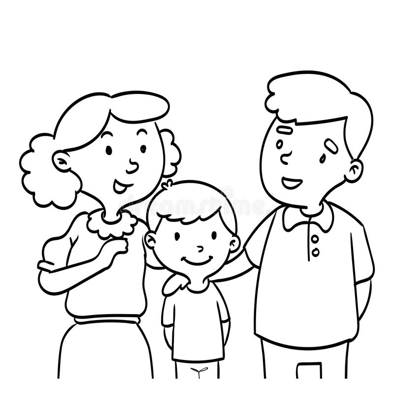 手拉愉快的家庭-线描例证 向量例证