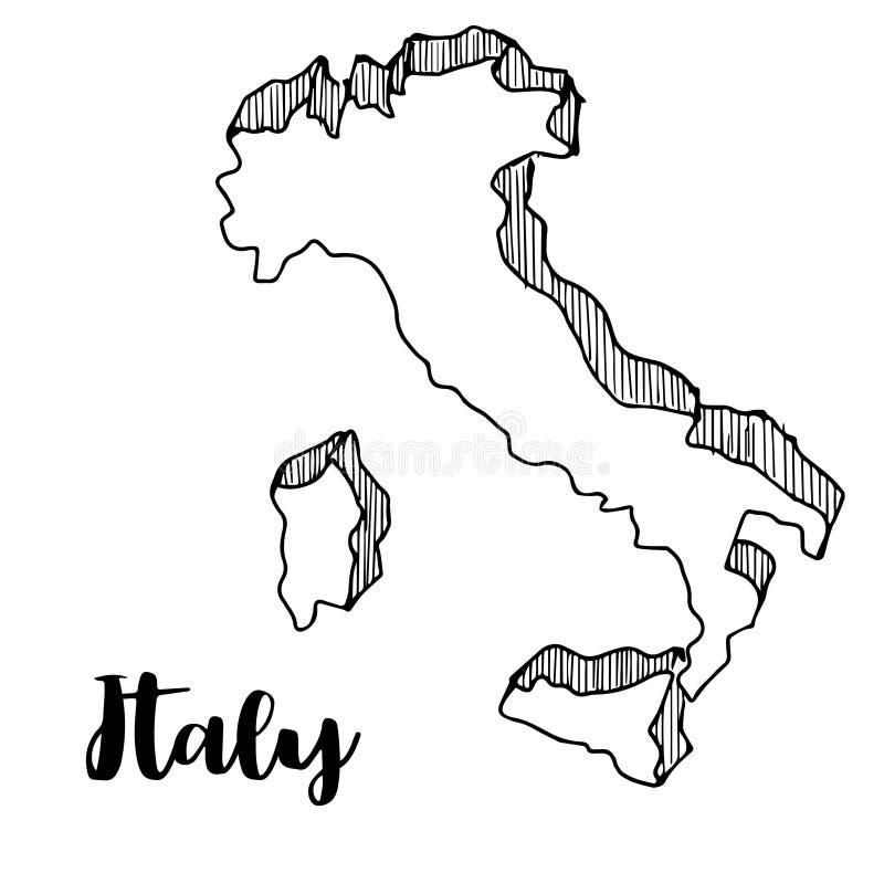 手拉意大利地图,例证 向量例证