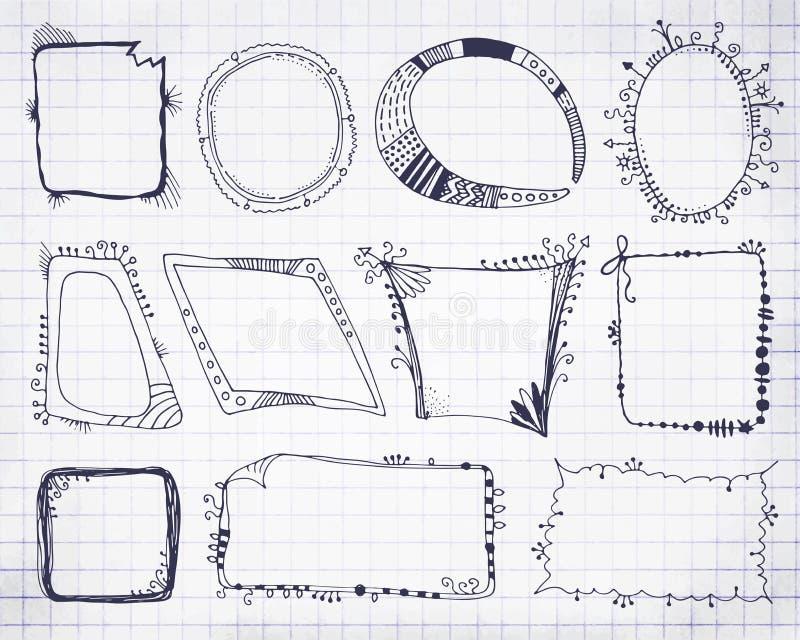 手拉或乱画传染媒介长方形和圈子框架 向量例证