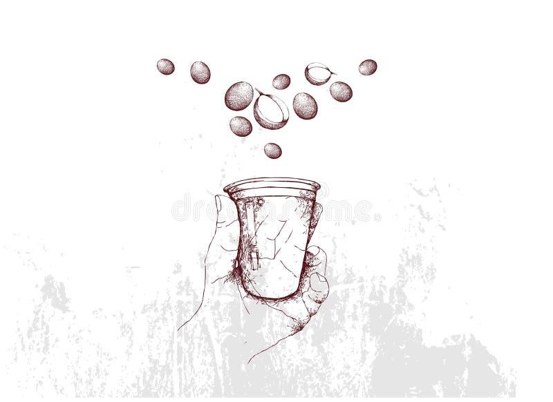 手拉手藏品一次性咖啡杯 向量例证