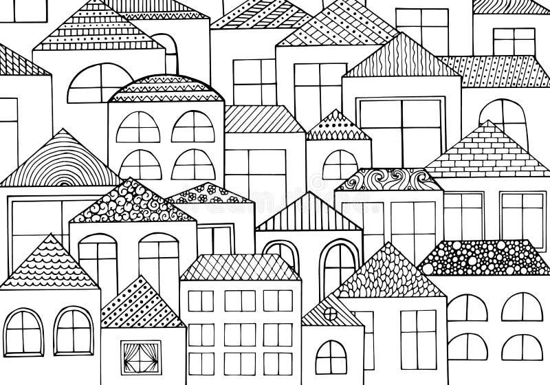 手拉有与很多房子,有许多窗口的家的墨水背景 库存例证