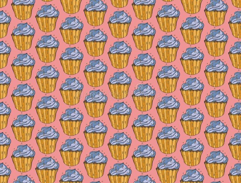 手拉杯形蛋糕甜点无缝的乱画传染媒介的样式 葡萄酒面包店背景 库存例证