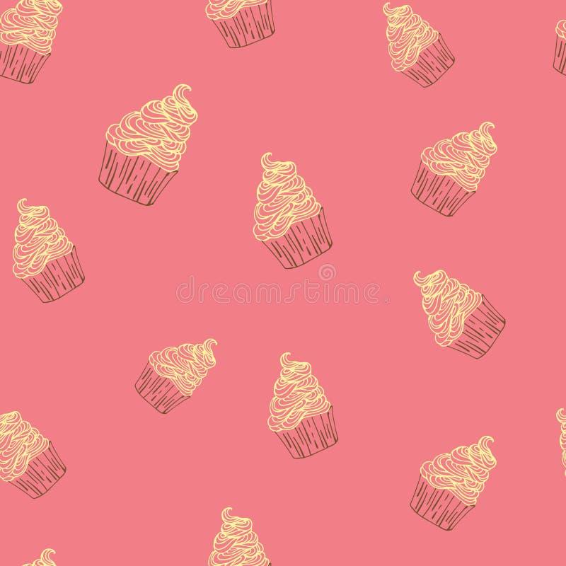 手拉杯形蛋糕甜点无缝的乱画传染媒介的样式 库存例证