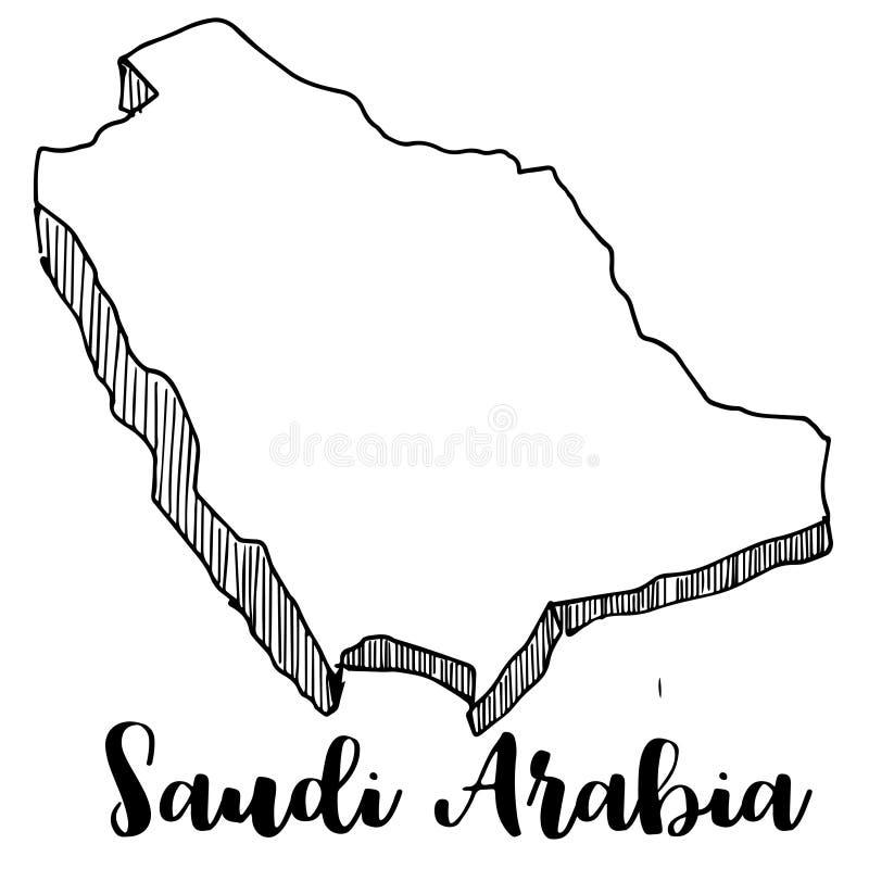 手拉沙特阿拉伯地图 库存例证