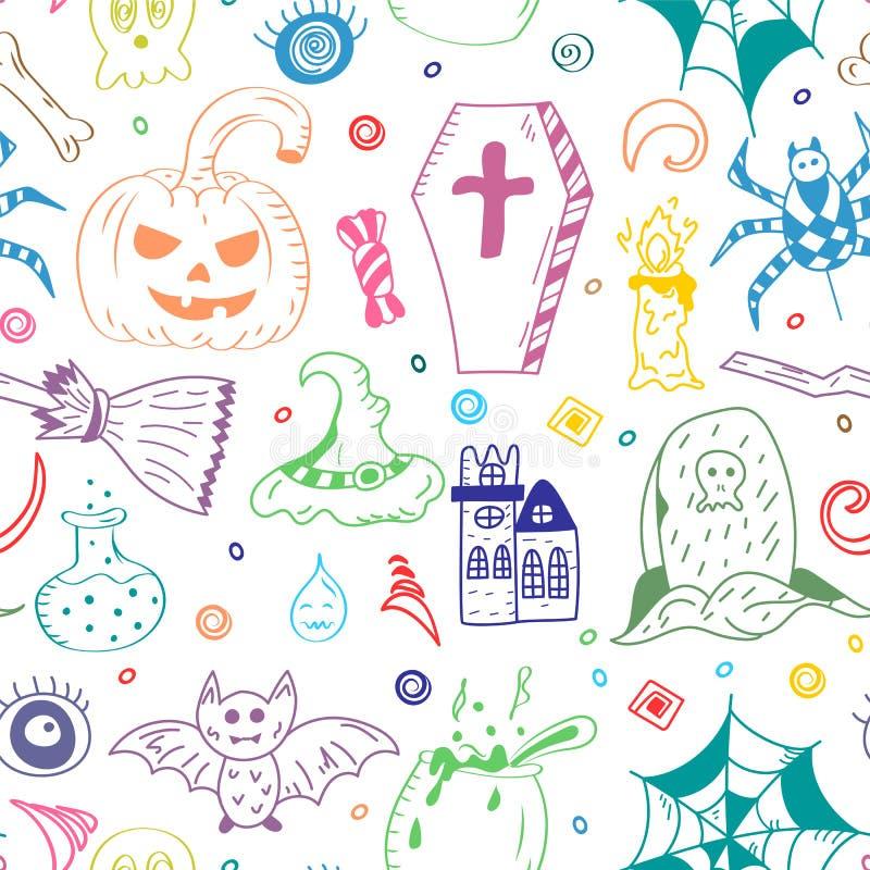 手拉的万圣夜标志的无缝的样式 棒,南瓜,鬼魂,蜘蛛,坟墓五颜六色的乱画图画  皇族释放例证