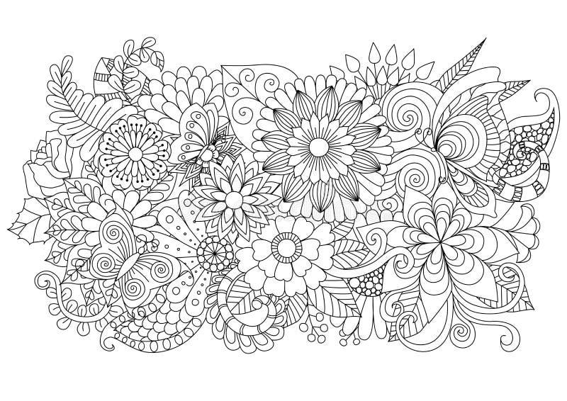 手拉的上色页和其他装饰的zentangle花卉背景 皇族释放例证