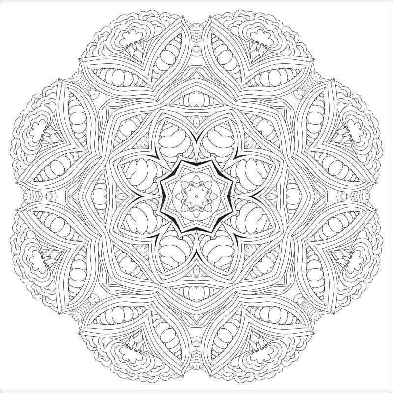 手拉的上色页的zentangle圆装饰品 库存例证