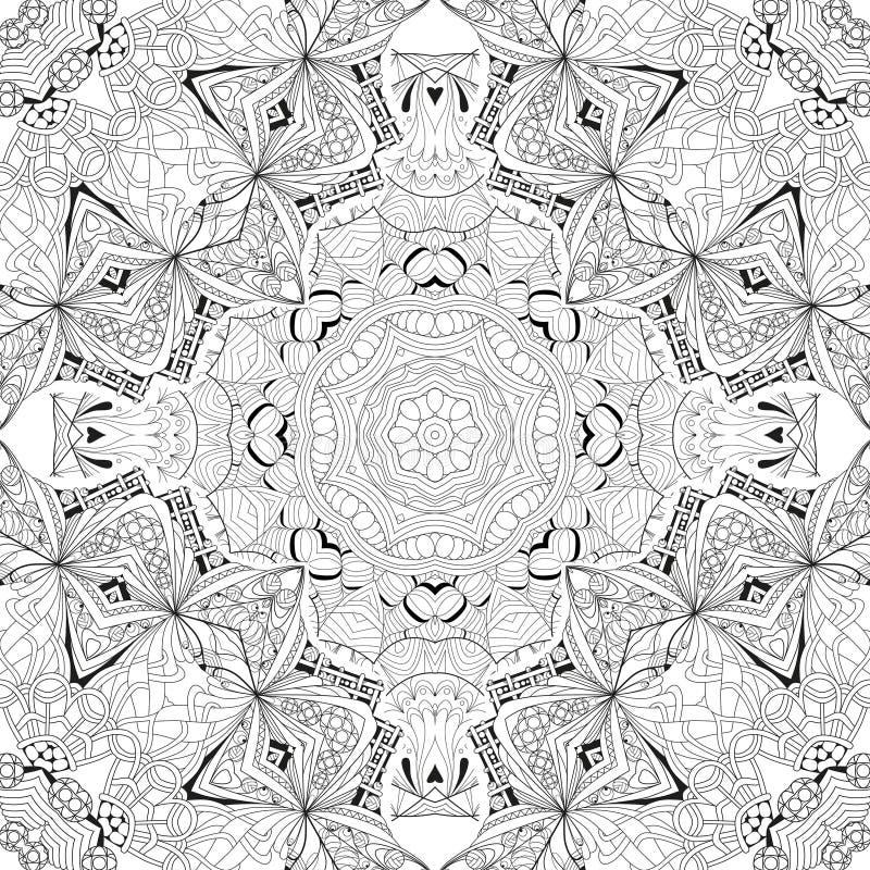 手拉的上色页的zentangle无缝的样式 皇族释放例证