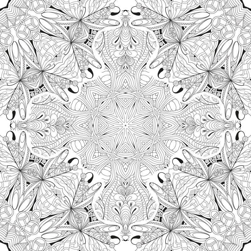 手拉的上色页的zentangle无缝的样式 向量例证