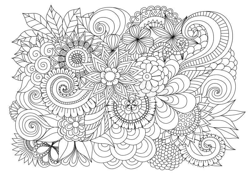 手拉的上色页的zentangle花卉背景 库存例证