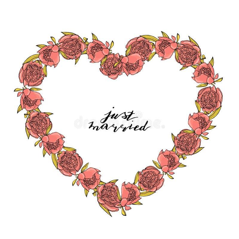 手拉的与习惯手字法的乱画样式桃红色牡丹花花圈 E 库存例证