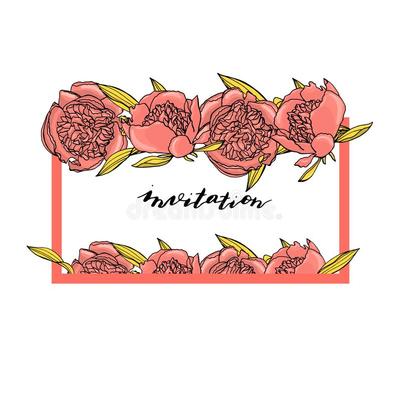 手拉的与习惯手字法的乱画样式桃红色牡丹花花圈 E 皇族释放例证