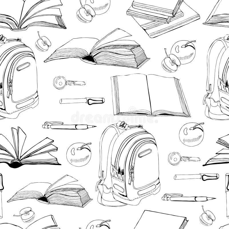 手拉的与书、在白色背景和字法的墨水单色剪影的无缝的样式隔绝的schooll项目 库存例证