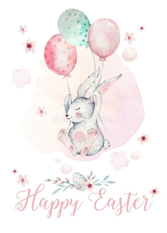 手拉的与兔宝宝的水彩愉快的复活节集合设计 兔子气球飞行,在白色的被隔绝的boho例证 库存例证