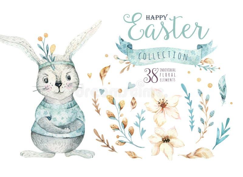 手拉的与兔宝宝的水彩愉快的复活节集合设计 兔子漂泊样式,在白色的被隔绝的boho例证 向量例证