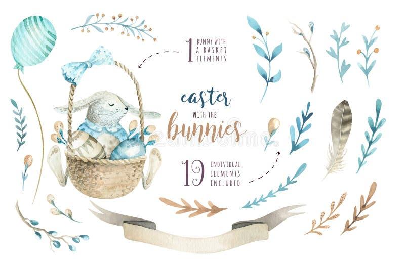 手拉的与兔宝宝的水彩愉快的复活节集合设计 Rabb 向量例证