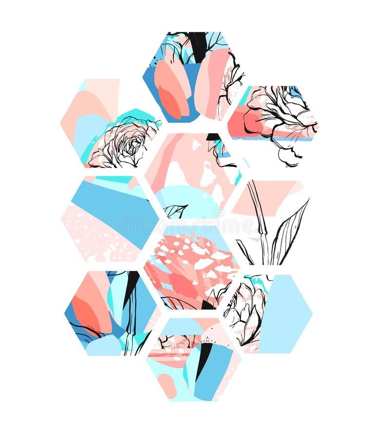手拉的与六角形形状、手工制造纹理和花的传染媒介艺术性的普遍织地不很细抽象构成 皇族释放例证