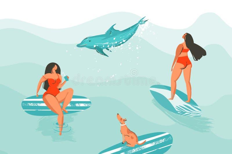 手拉的与冲浪者女孩的传染媒介摘要动画片图表夏时滑稽的例证海报红色比基尼泳装的与 皇族释放例证