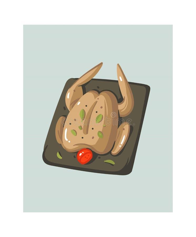 手拉的与准备被隔绝的鸡或火鸡的传染媒介摘要现代动画片烹饪时间例证象  向量例证