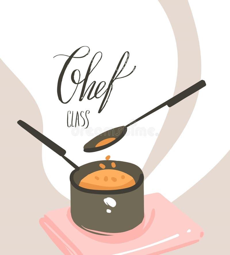 手拉的与准备食物场面,平底深锅,匙子的传染媒介摘要现代动画片烹饪课例证海报 向量例证