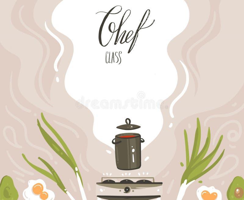 手拉的与准备食物场面,汤平底锅的传染媒介摘要现代动画片烹饪课例证海报 向量例证