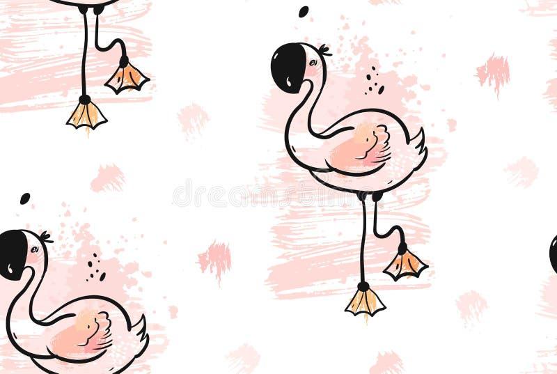 手拉的与在淡色被隔绝的桃红色火鸟的传染媒介摘要创造性的异常的热带逗人喜爱的无缝的样式 向量例证