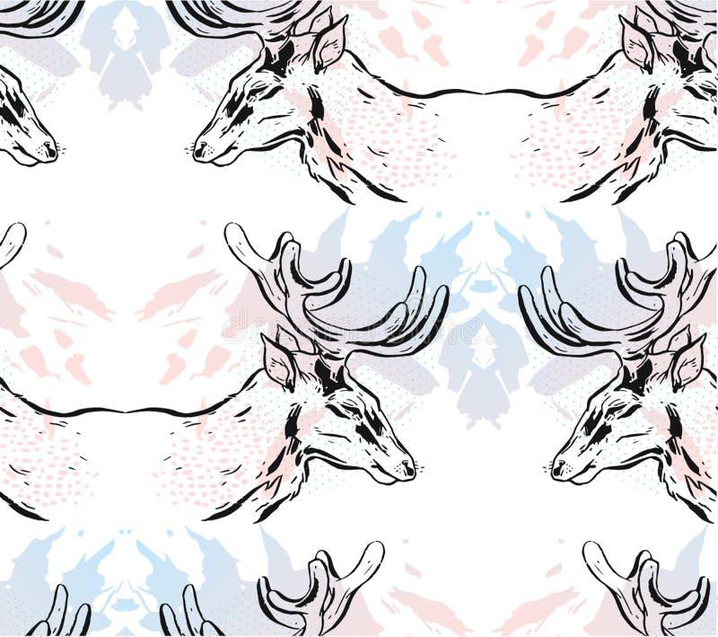 手拉的与在白色在淡色隔绝的图表驯鹿的传染媒介摘要镜子圣诞节无缝的样式 向量例证