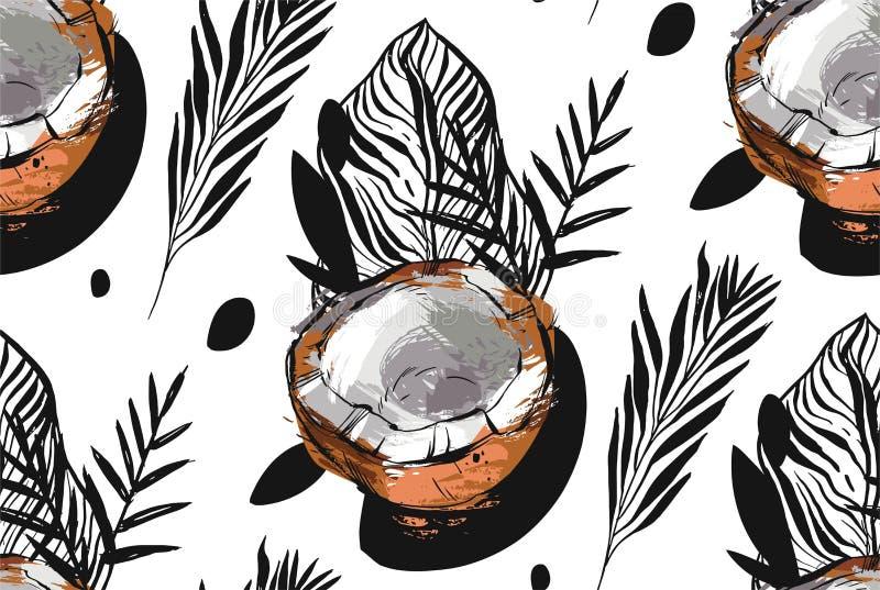 手拉的与在白色隔绝的异乎寻常的热带水果椰子蚂蚁棕榈叶的传染媒介摘要异常的无缝的样式 向量例证