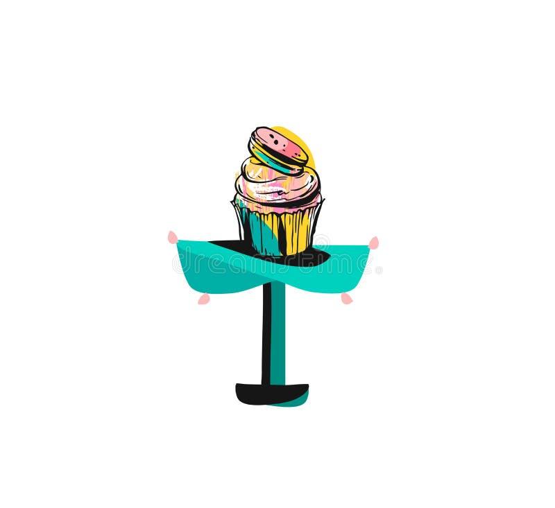 手拉的与墨水刷子的传染媒介摘要图表象设计元素绘了假日杯形蛋糕立场的例证 向量例证