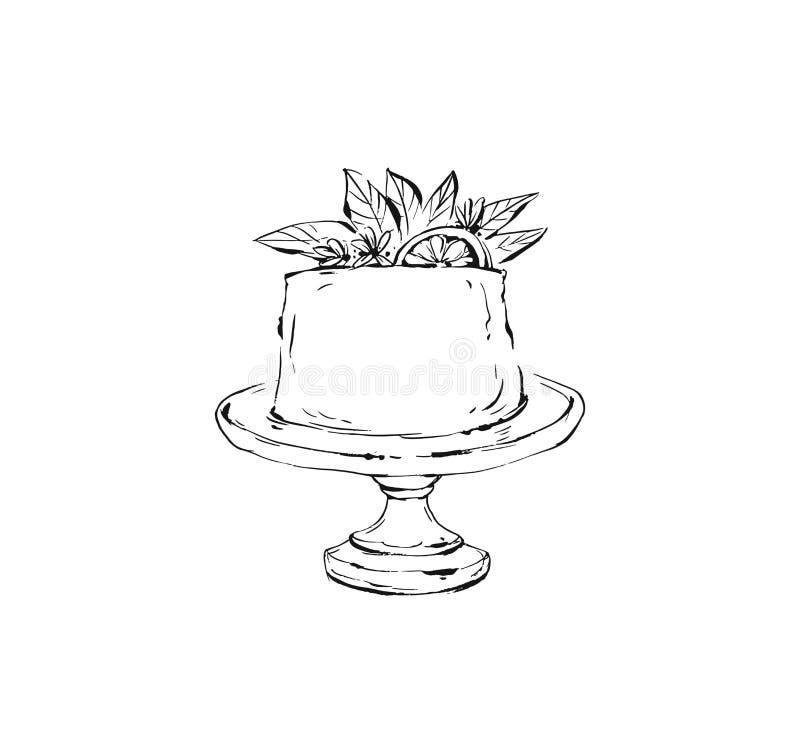 手拉的与墨水刷子的传染媒介摘要概略的图表象设计元素绘了假日蛋糕立场的例证 向量例证