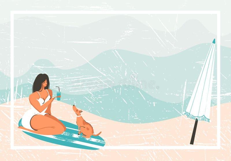 手拉的与女孩、水橇板、狗和伞的传染媒介摘要动画片夏时乐趣减速火箭的葡萄酒背景  向量例证