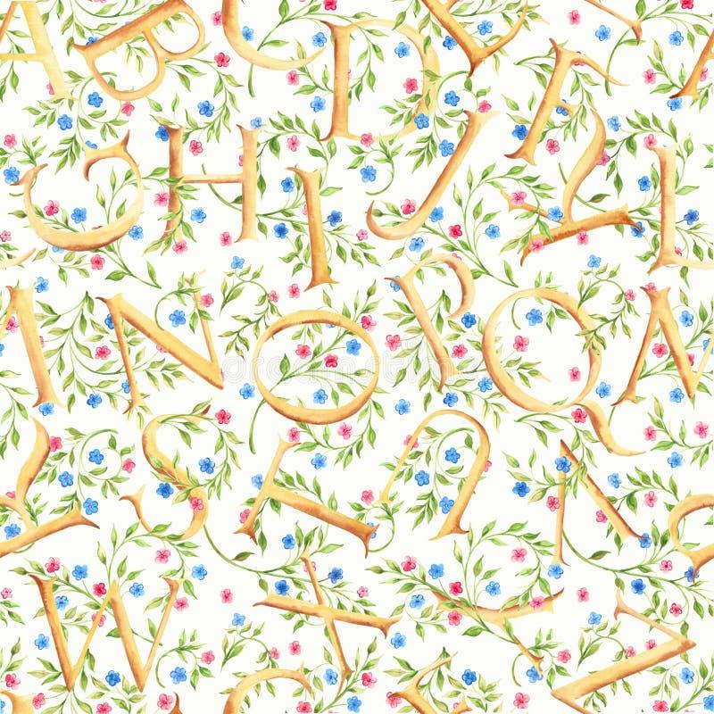 手拉的与字母表和花的水彩无缝的样式 库存图片