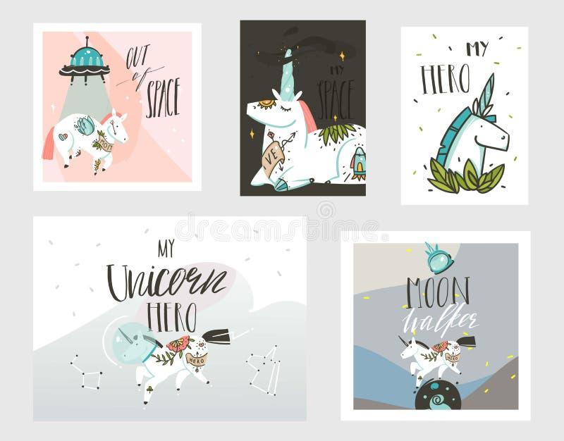 手拉的与宇航员独角兽的传染媒介摘要图表创造性的动画片例证卡片收藏集合模板 库存例证