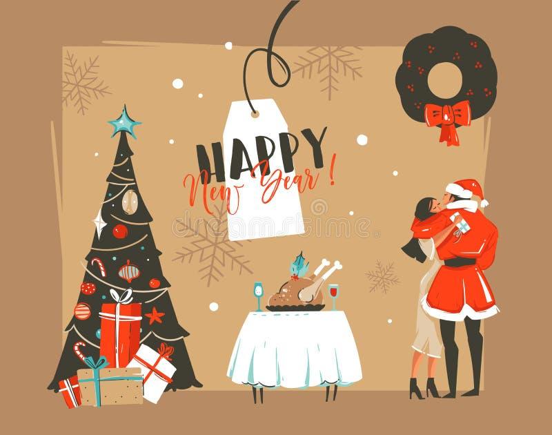 手拉的与拥抱浪漫的夫妇的传染媒介新年快乐时间动画片例证减速火箭的卡片亲吻和 皇族释放例证