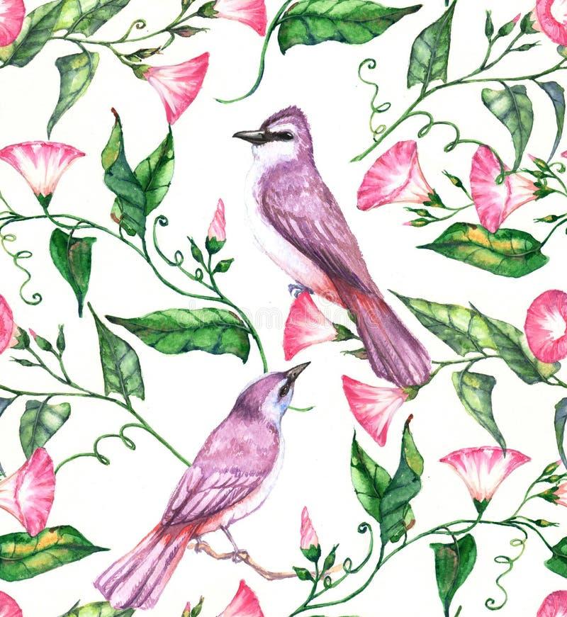 手拉的与桃红色和白花和紫罗兰色鸟的水彩无缝的样式 皇族释放例证