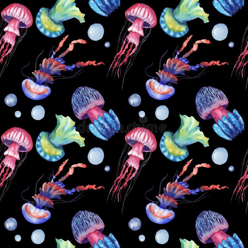 手拉的与水母的水彩无缝的样式在黑背景 皇族释放例证