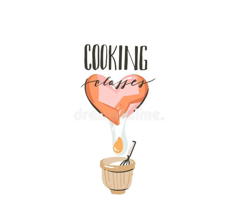 手拉的与烹调准备手,鸡蛋,罐的妇女的传染媒介摘要现代动画片烹饪时间例证象 库存例证