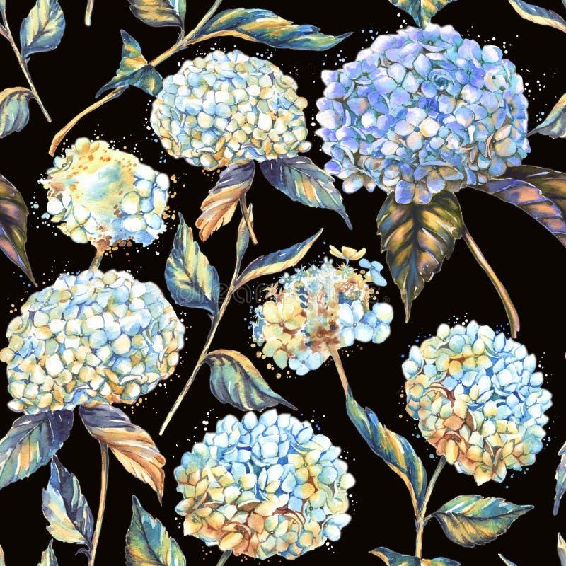 手拉的与白色和蓝色八仙花属的水彩无缝的样式开花 皇族释放例证
